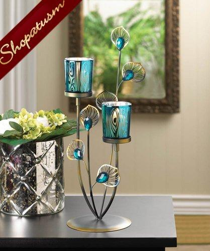 Blue peacock plume golden wedding centerpiece candelabra