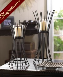 Black Centerpiece Iron Reeds Candle Stand Duo Candle Holder Set