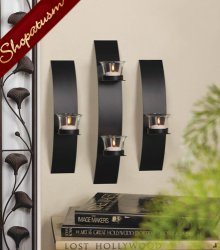 Black Metal Contemporary 3 Piece Wall Sconce Wall Accent