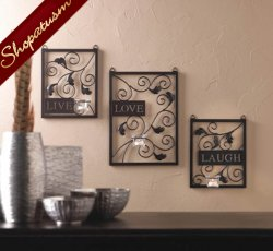 Live Love Laugh Wall Decor Candle Holders Wall Accents
