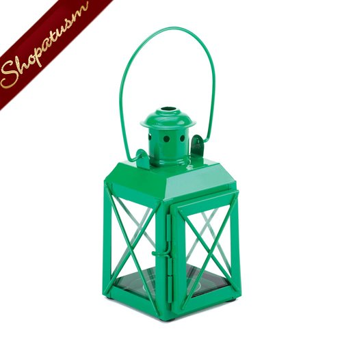 24 Railroad Style Candle Lanterns Green Wedding Centerpieces