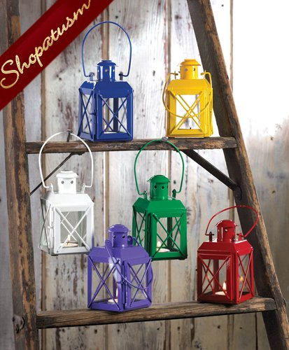 Image 1 of 24 Railroad Style Candle Lanterns Green Wedding Centerpieces