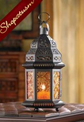 Amber Glass Moroccan Hanging Candle Lantern Centerpiece