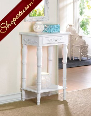 Shabby Distressed Carved White Side Table Chic Hall Table