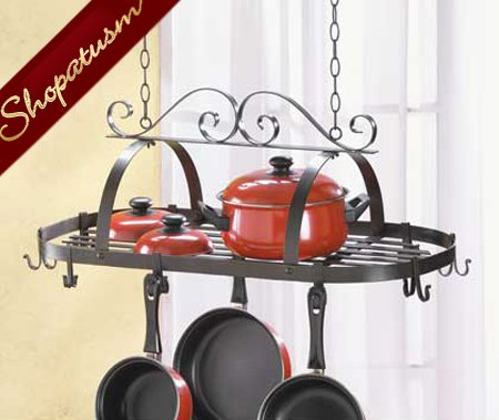 Black Metal Wrought Iron Hanging Pot Holder Organizer Pot Rack
