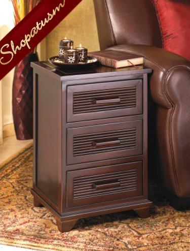 Santa Rosa Wood End Side Storage Table 3 Drawer Nightstand