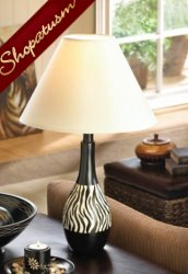 Exotic Black & White Striped Zebra Table Lamp White Fabric Shade