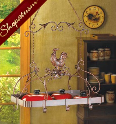 Country Rooster Kitchen Rack Rust Red Pot Holder Organizer