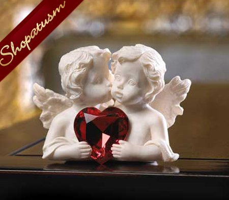Two In Love Cherub Figurine White Faux Stone Wedding Favor
