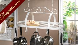 Wrought Iron White Scrollwork Hanging Pot Holder Organizer