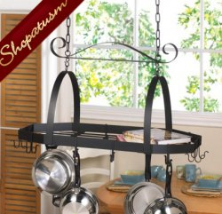 Black Hanging Kitchen Pot Holder Octagonal Pot Organizer
