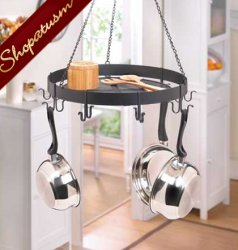 Black Metal Kitchen Round Hanging Pot Holder Organizer