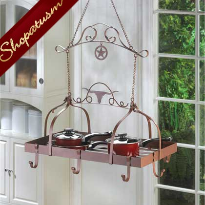Wild Western Longhorn Lasso and Lone Star Hanging Kitchen Pot Rack