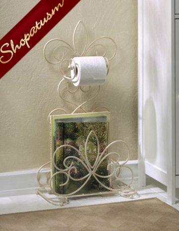 Fleur De Lis Ivory Metal Bathroom Toilet Paper Holder Magazine Rack