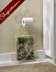 Fleur De Lis Ivory Metal Bathroom Toilet Paper Holder Magazine Rack