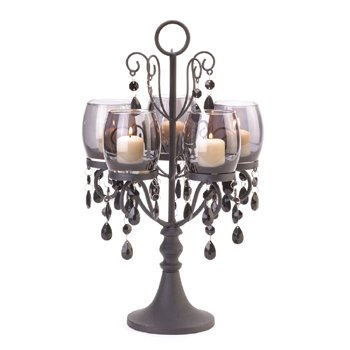 Image 1 of Midnight Elegance Black Candelabra Acrylic Beads Centerpiece