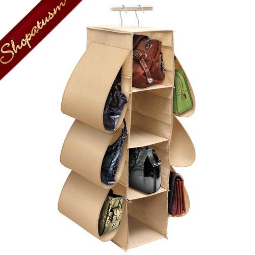 Hanging handbag closet dust free purse storage organizer - How to hang bags in closet ...