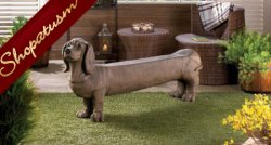 Dachshund Doggy Bench for Garden Porch or Entry Way