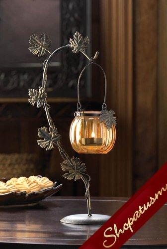 Autumn Harvest Centerpiece Orange Glass Pumpkin Candle Holder