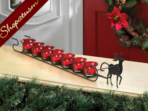 Reindeer Sleigh Candle Display Christmas Centerpiece