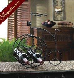 Black Iron Decorative Bicycle Tabletop Wine Rack