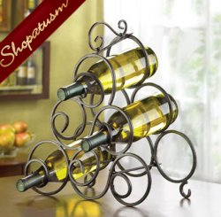 Wrought Iron Spiral Scrollwork Wine Rack Tabletop Bottle Holder