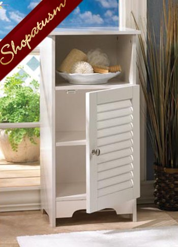 Image 1 of White Bathroom Nantucket Storage Cabinet with Shelves