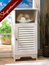 White Bathroom Nantucket Storage Cabinet with Shelves