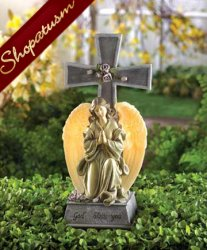 Faux Stone Angel Blessed Cross Solar Light Garden Statue