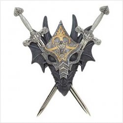 Medieval Armored Dragon Wall Crest with Pewter Swords