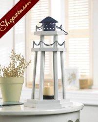36 Centerpieces Lighthouse Candle Lanterns Nautical White Wood