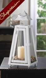 36 Cottage Candle Lanterns Summit White Metal Wedding Centerpieces
