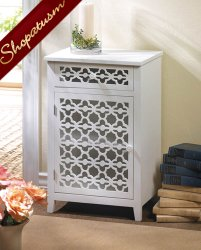 Bathroom Meadow Lane White Wood Storage Cabinet Nightstand