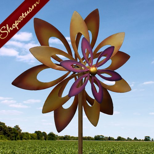 Artistic Iron Dancing Sunflower 7 foot Garden Windmill