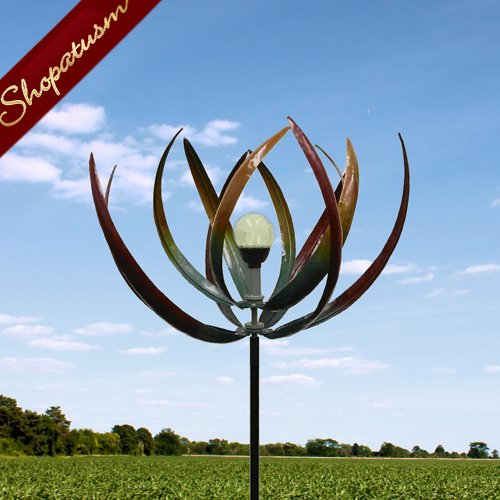 Artistic Iron Solar Light Leaf Garden Windmill Yard Art