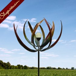 Artistic Iron Solar Light Leaf Garden Windmill Yard Art