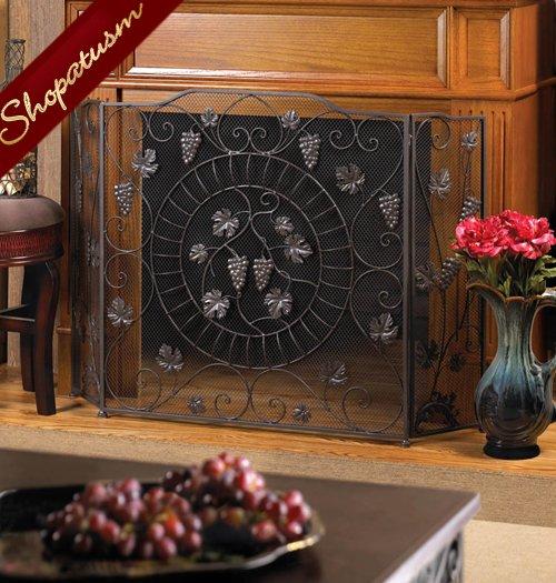 Elegant Fruits Vineyard Estate Fireplace Trifold Metal Screen