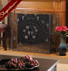 Elegant Fruits Vineyard Estate Fireplace Trifold Metal Screen