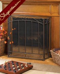 Elegant Timeless Iron Trifold Metal Fireplace Screen