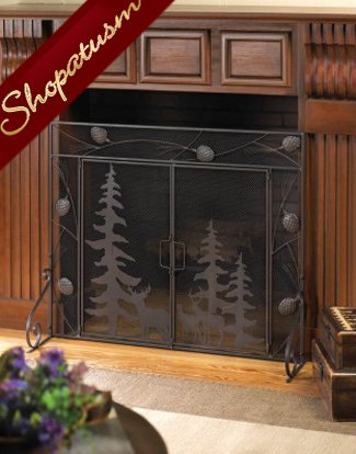 Rustic Woodland Scene Detailed Pine Cone Metal Fireplace Screen