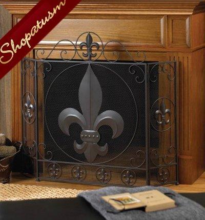 Stylish Fireplace Screen Fleur-De-Lis Trifold Metal Screen