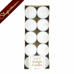 Pack of 10 White Tealight Unscented Candles for Centerpieces