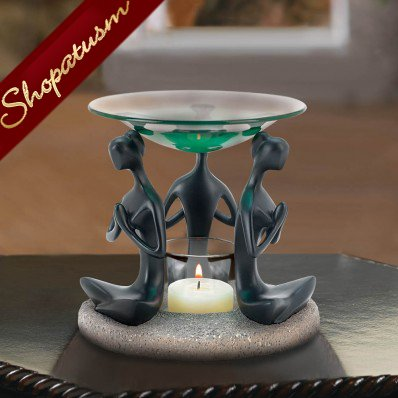 A Woman's Prayer Black Figurine Oil Warmer