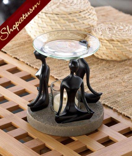 Meditation Black Figurine Yoga Position Oil Warmer