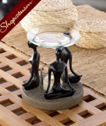 Meditation Black Figurine Yoga Position Oil Warmer