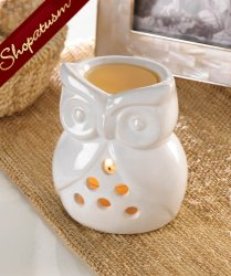 White Ceramic Charming Owl Sculpture Oil Warmer