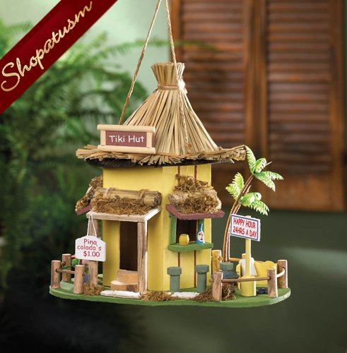 Tropical Hideaway Wooden Garden Tiki Hut Birdhouse