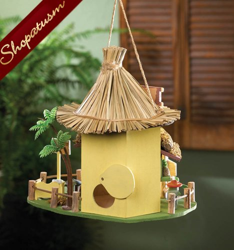 Image 1 of Tropical Hideaway Wooden Garden Tiki Hut Birdhouse