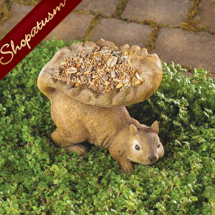 Woodland Brown Squirrel Garden Statue Bird Feeder