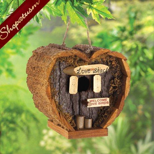 Heart Shaped Honeymoon Wood Love Shack Garden Bird House